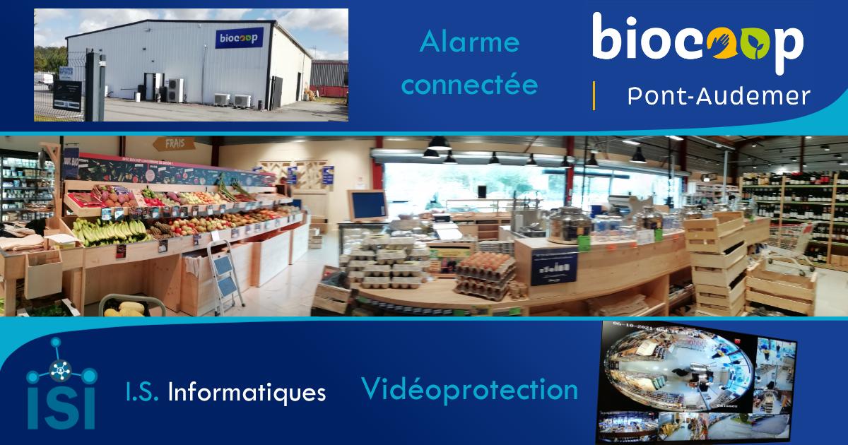 Installation d'une alarme et de caméras dans un biocoop à Pont-Audemer